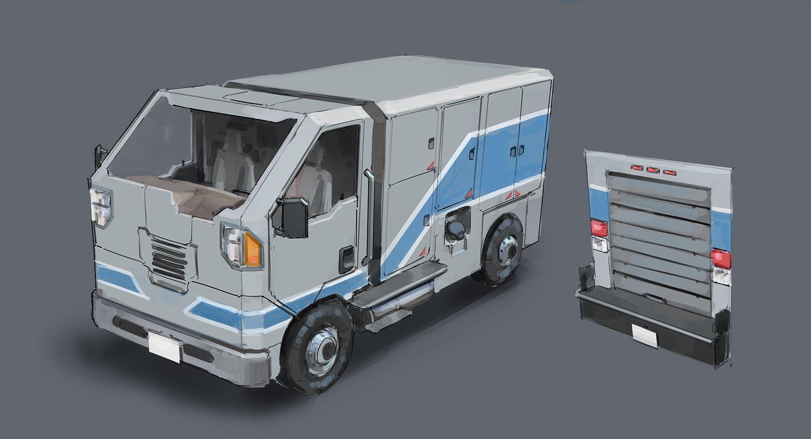 Installation 01 New Order Truck Concept Art by Aviixe (Stephen Boe)