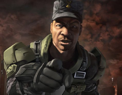 Sergeant Johnson pointing at you